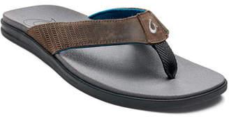 9e96e4015d32 OluKai Men s Alania Embroidered Leather Thong Sandals