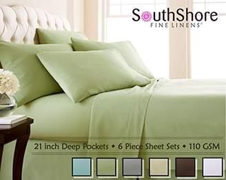 Southshore Fine Linens 6 Piece - Extra Deep Pocket Sheet Set - SAGE GREEN - Queen