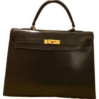 8edd7b510568 Hermes Vintage Kelly 35 Navy Leather Handbag