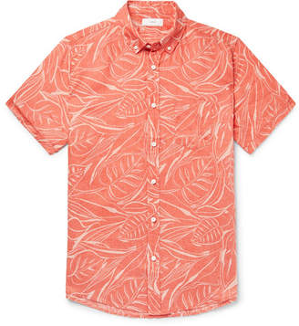 Onia Jack Button-Down Collar Printed Slub Linen Shirt - Men - Coral