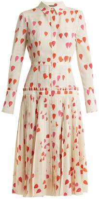 Heart-print button-down dress