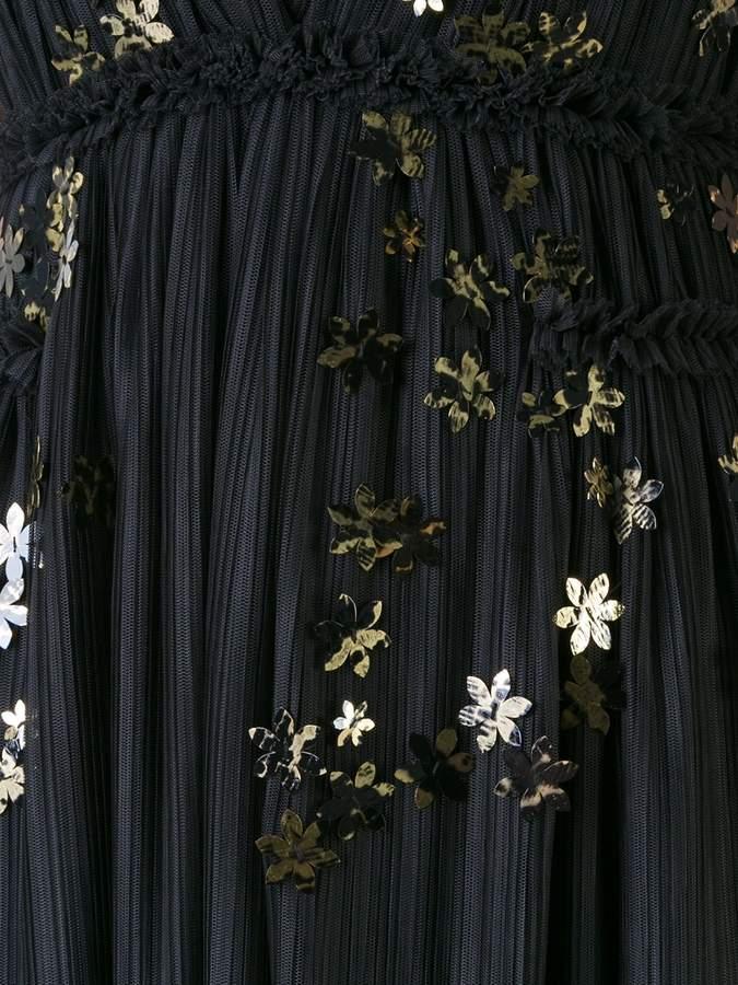 Jay Ahr gold-tone flower appliqué dress