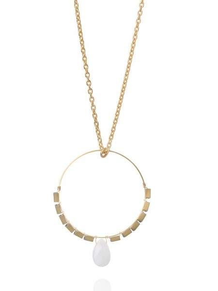 Styleserver DE David Aubrey Lange Halskette mit Goldring und weißem Clarit