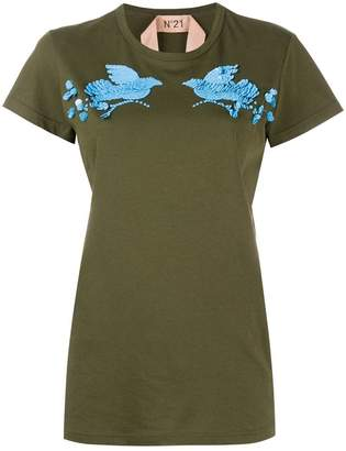 No.21 sequin bird embellished T-shirt