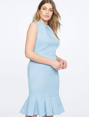 Pleated Neckline Sheath Dress with Ruffle Hem