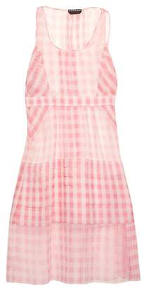 Rochas Gingham Oversized Silk Organza Dress - Womens - Pink White
