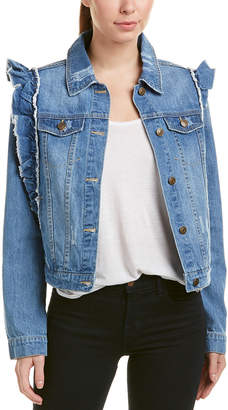 Bagatelle Ruffle Shoulder Denim Jacket