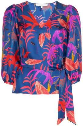 Borgo de Nor leaf-print belted silk blouse