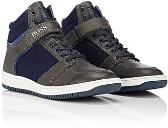 Hugo Boss HUGO BOSS CANVAS & LEATHER ANKLE-STRAP SNEAKERS $138 thestylecure.com