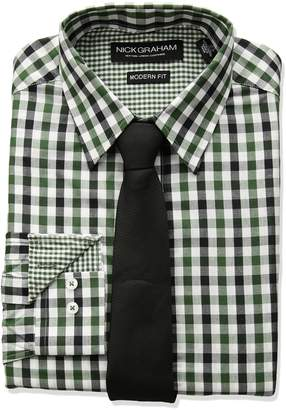 Nick Graham Men's Multi Gingham Dress Shirt with Solid Tie Set