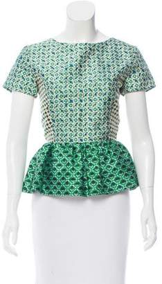 Oscar de la Renta Printed Short Sleeve Top