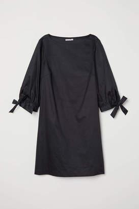 H&M Dress with Tie Sleeves - Black - Women