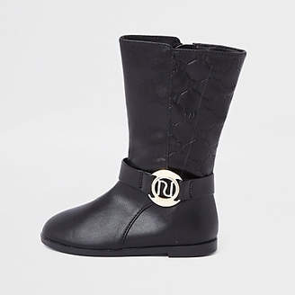 River Island Mini girls black RI monogram calf boots