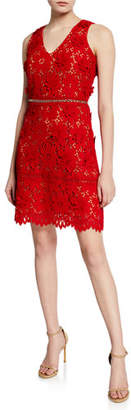 MICHAEL Michael Kors V-Neck Sleeveless 3D Carnation Lace Mini Dress