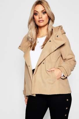 boohoo Plus Hooded Wool Look Coat