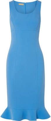 Michael Kors Ruffled Stretch-wool Crepe Dress - Light blue