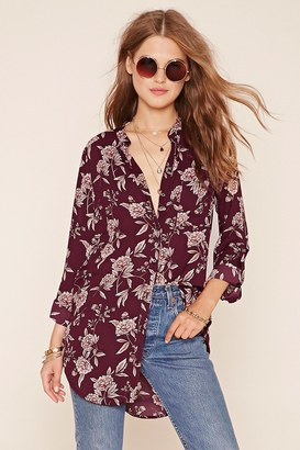 FOREVER 21 Floral Longline Shirt $14.90 thestylecure.com