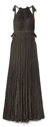 Ulla Johnson Augustine Plissé-satin Maxi Dress - Charcoal