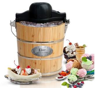 Elite by Maxi-Matic Gourmet 4-qt. Old Fashioned Pine Bucket Electric and Manual Ice Cream Maker