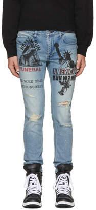 Diet Butcher Slim Skin Blue Anagram Damage Skinny Jeans
