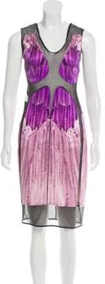 Narciso Rodriguez Silk Mesh Paneled Dress Purple Silk Mesh Paneled Dress