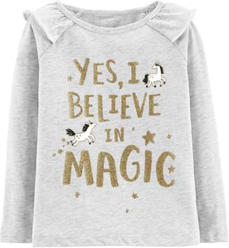 "Carter's Baby Girl Yes I Believe In Magic"" Glitter Graphic Top"