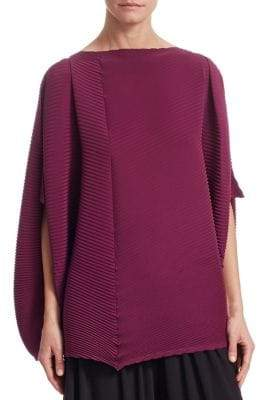 Issey Miyake Arrow Split-Sleeve Pleated Top