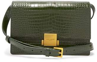 Saint Laurent Bellechasse Medium Crocodile Effect Leather Bag - Womens - Dark Green