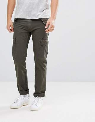 Celio Cuffed Cargo Pants In Khaki