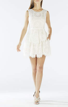 BCBGMAXAZRIA Charlee Asymmetrical Tiered Lace Dress
