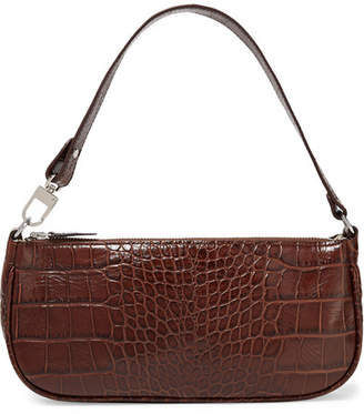 BY FAR - Rachel Croc-effect Leather Shoulder Bag - Dark brown