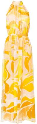 Emilio Pucci Rivera Print Halter neck Silk Chiffon Dress