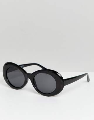 Reclaimed Vintage Inspired Oversized Round Sunglasses In Black