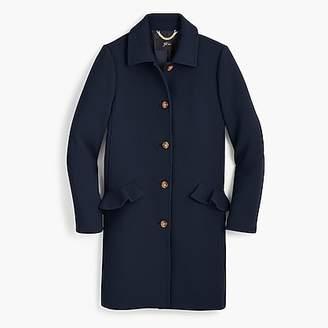 J.Crew Topcoat with ruffle pockets in Italian double cloth wool