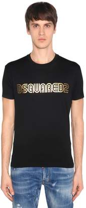 DSQUARED2 Metallic Logo Cotton Jersey T-Shirt