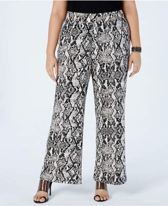 bcf22704a3a INC International Concepts I.n.c. Plus Size Snake-Print Wide-Leg Pants