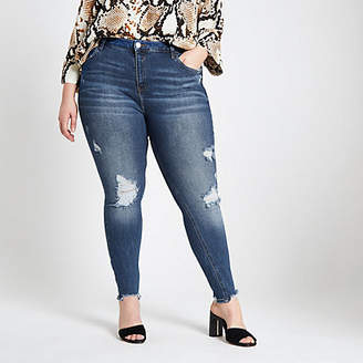 River Island Plus blue Amelie ripped super skinny jeans
