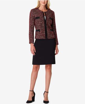 Tahari ASL Velvet-Trim Boucle Skirt Suit