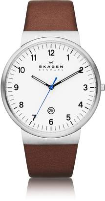 Skagen Ancher Round Steel Case Men's Watch w/Leather Strap