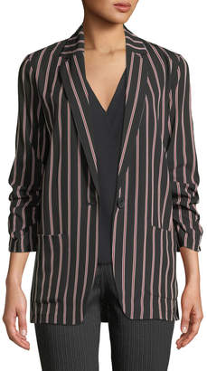 Max Studio Striped 3/4-Sleeve Button-Front Blazer