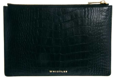 Whistles Leather Croco Zip Top Purse