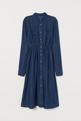 H&M MAMA Lyocell Shirt Dress - Blue