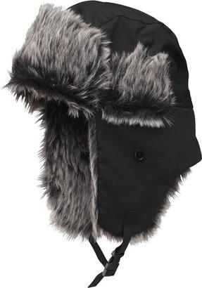 54d75492d08 Kangaroo Poo Mens Faux Fur Lined Trapper Hat Black