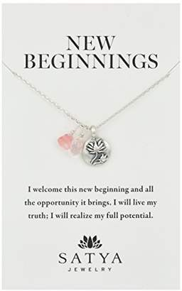 Satya Jewelry Sterling Silver Rose Quartz Lotus Charm Necklace (18-Inch)