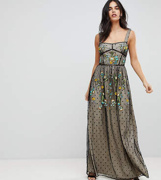 Frock and Frill Frock And Frill Premium Folk Embroidered Structured Strap Maxi Dress