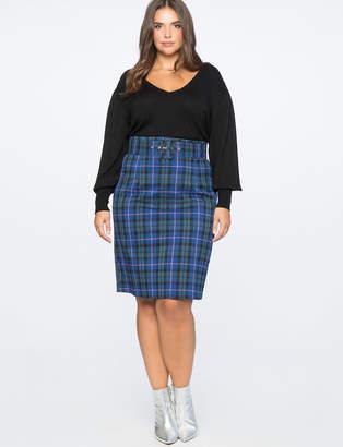 Plaid Column Skirt With Belt