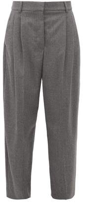 Stella McCartney High Rise Pleated Wool Flannel Trousers - Womens - Grey