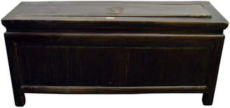 One Kings Lane Vintage Antique Chinese Brown Lacquered Trunk - FEA Home