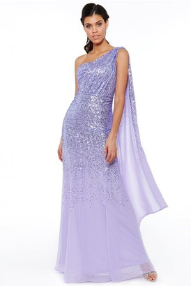 Goddiva Lavender One Shoulder Sequin & Chiffon Maxi Dress