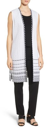 Women's Ming Wang Long Jacquard Vest $280 thestylecure.com